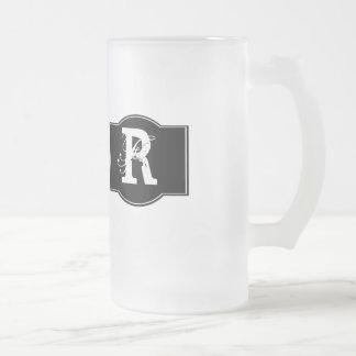 Black Label Monogrammed 16 Oz Frosted Glass Beer Mug