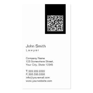 Black Label QR Code Lawyer Business Card