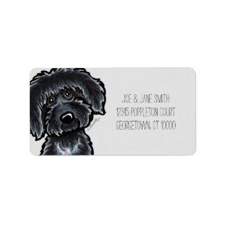 Black Labradoodle Art Gray Mod Label
