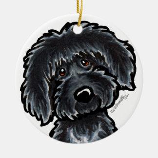 Black Labradoodle Art Personalized Ceramic Ornament