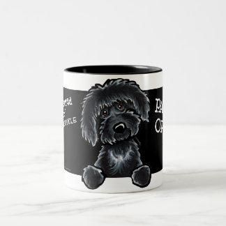 Black Labradoodle Art Two-Tone Coffee Mug