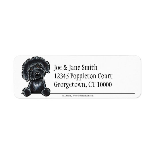 Black Labradoodle Clean & Simple Return Address Label