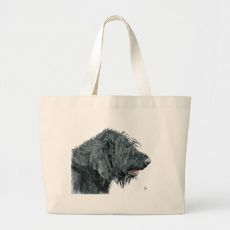 Black Labradoodle Large Tote Bag