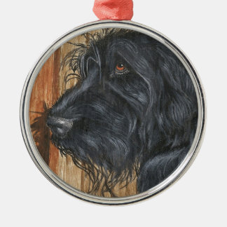 Black Labradoodle Metal Ornament
