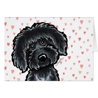 Black Labradoodle Puppy Love Card