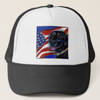 Black Labrador American Flag Trucker Hat