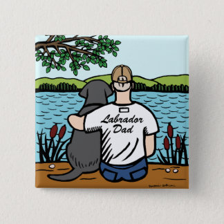 Black Labrador and Dad 2 Inch Square Button