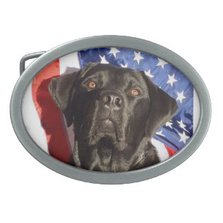 Black Labrador and Flag Belt Buckle