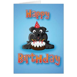 black labrador - cake- happy birthday card
