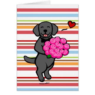 Black Labrador Cartoon Roses Card