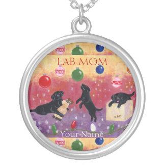 Black Labrador Christmas Lab Mom Round Pendant Necklace