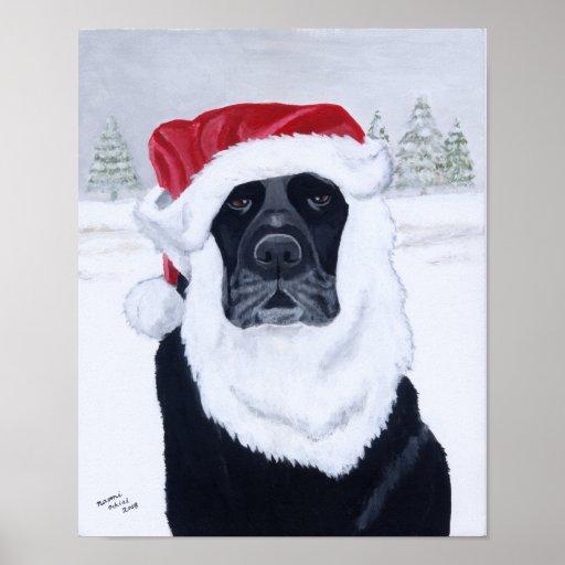 Black Labrador Christmas Santa Artwork Poster