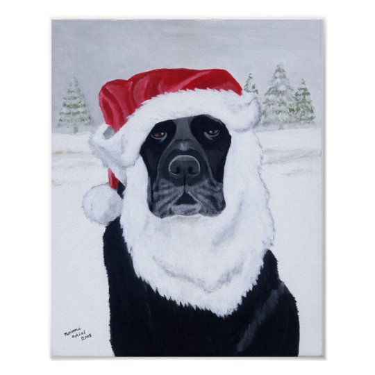 Black Labrador Christmas Santa Artwork Poster