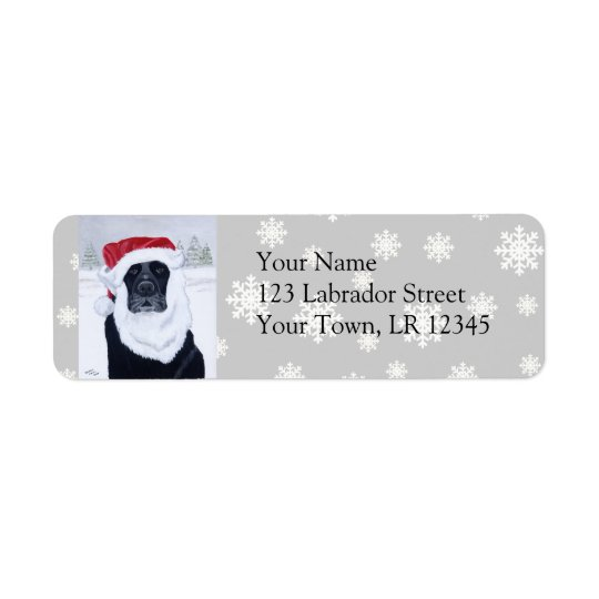 Black Labrador Christmas Santa Hat Painting