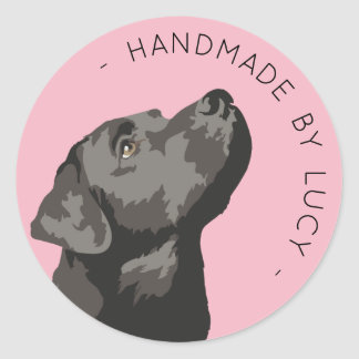 "Black Labrador Custom ""Handmade By..."" Sticker"