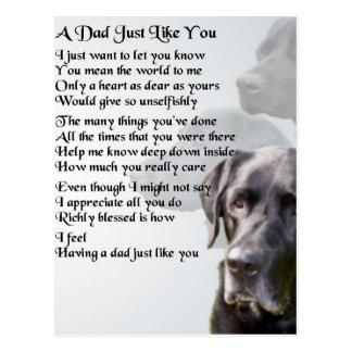 Black Labrador  Dad Poem Postcard