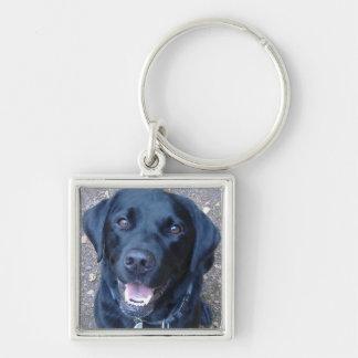Black Labrador Dog  Key Ring Silver-Colored Square Keychain