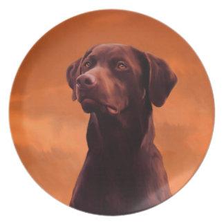 Black Labrador Dog Portrait Plate