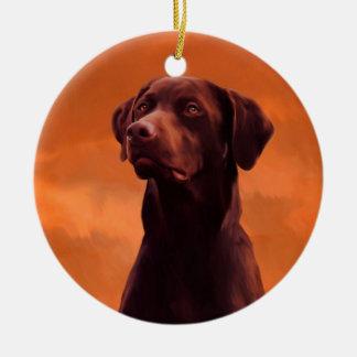 Black Labrador Dog Portrait Round Ceramic Ornament