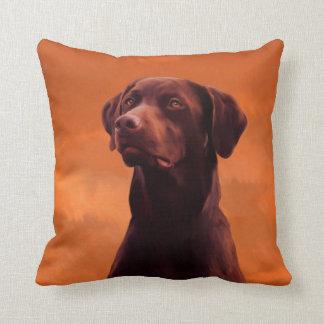 Black Labrador Dog Portrait Throw Pillow