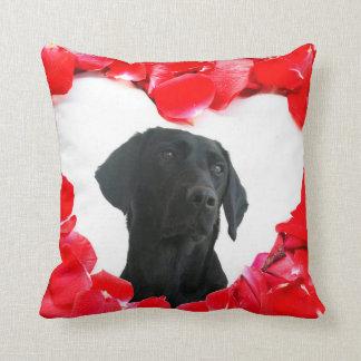 Black Labrador Dog Roses Heart Photo pillow