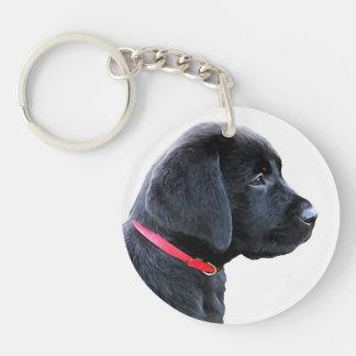 Black Labrador - Dressed in Red Keychain