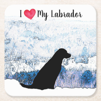 Black Labrador - Felt with the Heart Square Paper Coaster