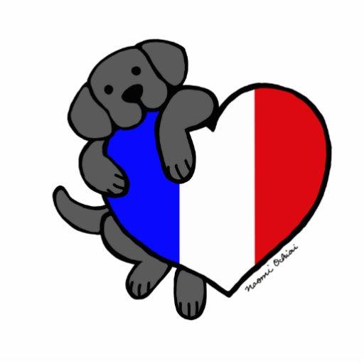 Cartoon French Flag Black labrador & french heart cartoon photo cutout