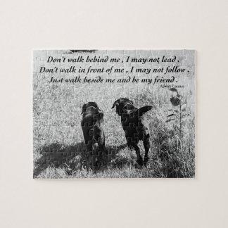 Black Labrador Friends Quote Jigsaw Puzzle