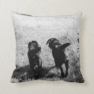 Black Labrador Friends Throw Pillow