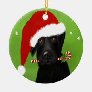 Black Labrador -Funny Christmas Dog Ceramic Ornament