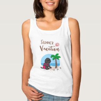 Black Labrador Girl Summer Vacation Tshirt 2
