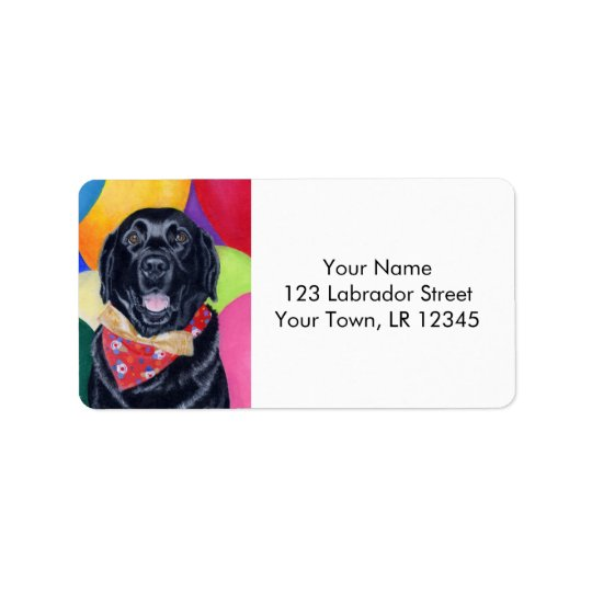 Black Labrador Happy Birthay Painting Label