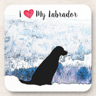 Black Labrador - I Love My Labrador Coaster