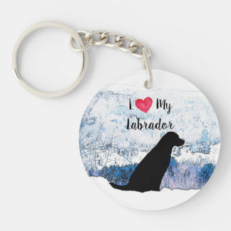 Black Labrador - I Love My Labrador Keychain