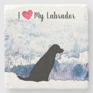 Black Labrador - I Love My Labrador Stone Coaster