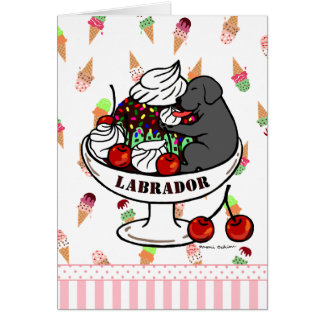 Black Labrador & Ice Cream Sundae Card