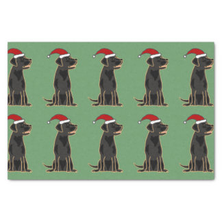 Black Labrador in Santa Hat Christmas Tissue Paper