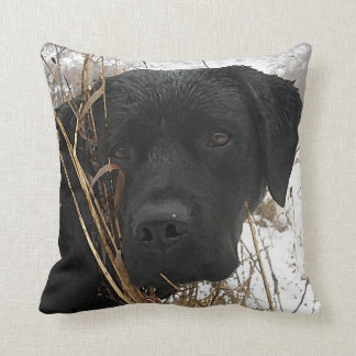 Black Labrador - Late Season Hunt Throw Pillow