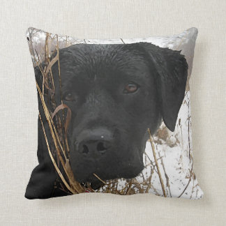 Black Labrador - Late Season Hunt Throw Pillow