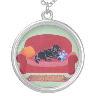 Black Labrador on the Pink Couch Round Pendant Necklace