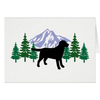 Black Labrador Outline Evergreen Trees Cards