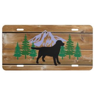 Black Labrador Outline Evergreen Trees License Plate