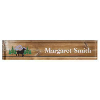 Black Labrador Outline Evergreen Trees Name Plate