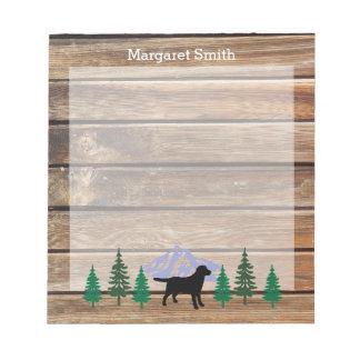 Black Labrador Outline Evergreen Trees Notepad