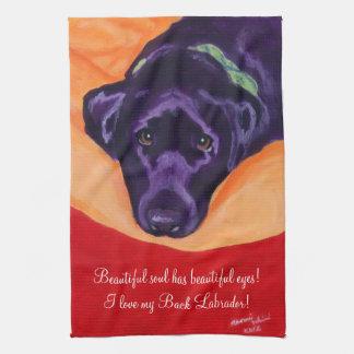 Black Labrador Painting Kitchen Towel