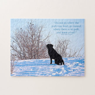 Black Labrador - Path Life Quote Jigsaw Puzzle