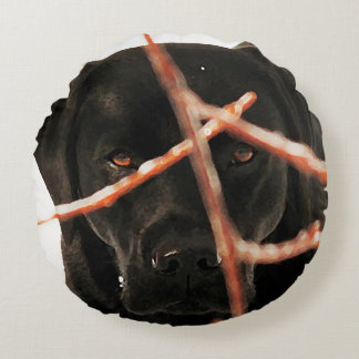 Black Labrador - Peeking Branches Round Pillow