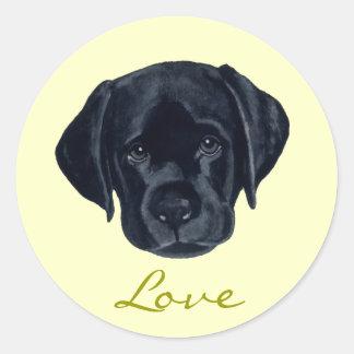Black Labrador Puppy Classic Round Sticker