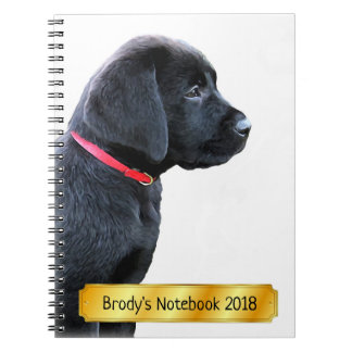 Black Labrador Puppy - Dressed in Red Notebook